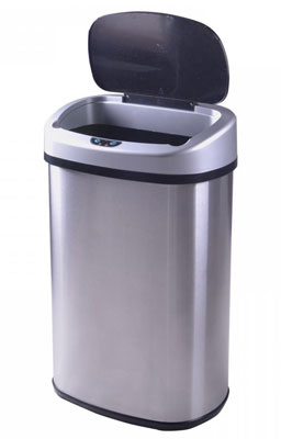 9. Levpet 13-Gallon Stainless Steel Trash Can