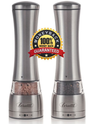 7. Lerutti Stainless Steel Salt and Pepper Grinder Set
