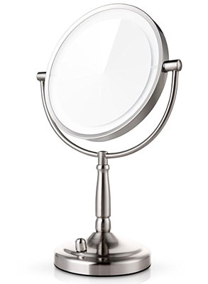 4. Miusco 8 inch Two Sided Lighted Makeup Mirror