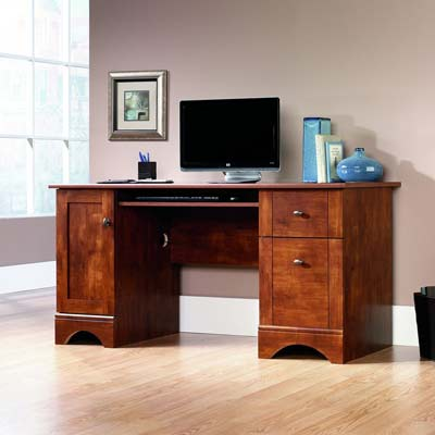 3. Sauder Computer Desk (Brushed Maple Finish)