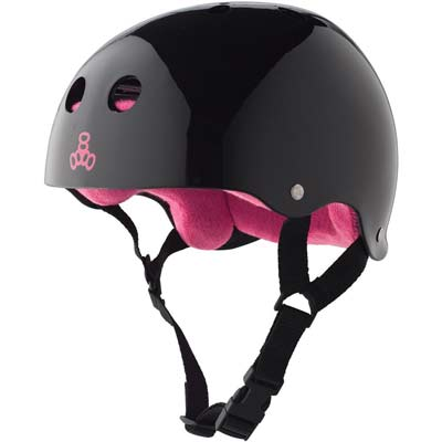 8. Triple 8 Rubber Helmet with Sweatsaver Liner (Black Glossy, Pink Liner, Large)
