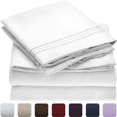 1. Mellanni Bed Sheet Set (Queen White)