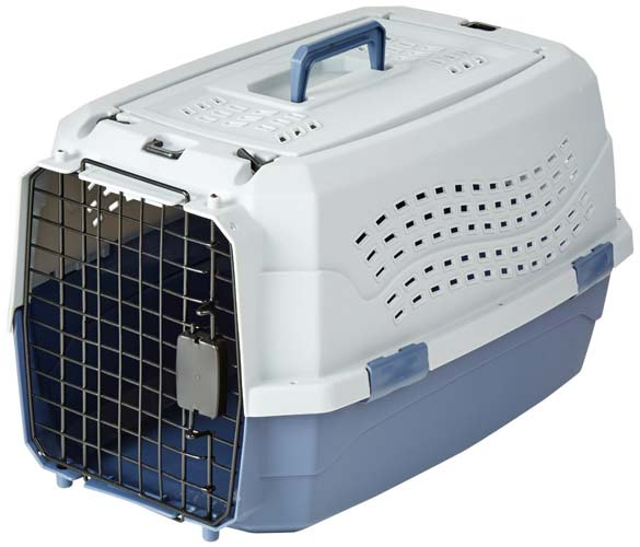 5. AmazonBasics Two-Door Top-Load Pet Kennel