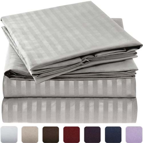 5. Mellanni Striped Bed Sheet Set
