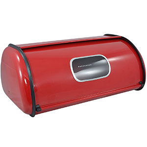 5. MyGift Modern Red Metal Rolltop 2 Loaf Bread Box