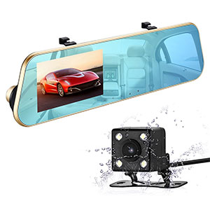 8. isYoung 720P HD Rearview Mirror Dash Cam