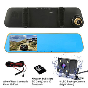 3. TENNBOO Gold Dual Lens Car Dash Camera