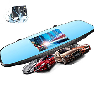 "5. JVIN 4.5"" Dash Camera Mirror for Cars"