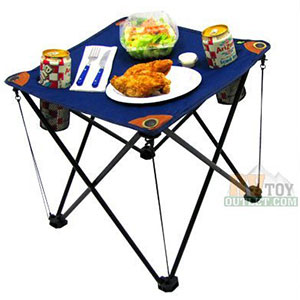 8. EZ Travel Collection Blue Camping Folding Table