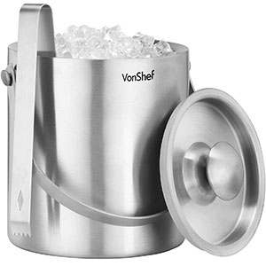 9. VonShef 3 L Double Walled Stainless Steel Ice Bucket