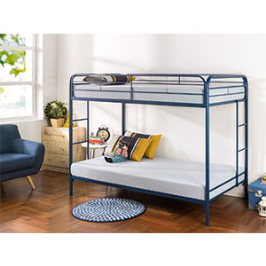 7. Zinus Quick Lock Twin Over Twin Bunk Bed (Navy)