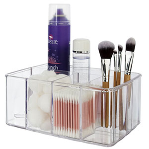 6. STORi Vanity Clear Plastic Organizer with 5 Compartments