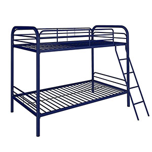 9. DHP Navy Blue Bunk Bed (Twin-Over-Twin)